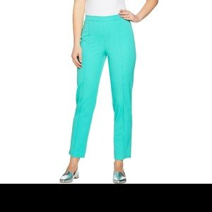 Isaacmizrahi live green pants with elastic